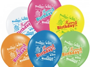Balony urodziny Happy Birthday, Pastel Mix 6szt